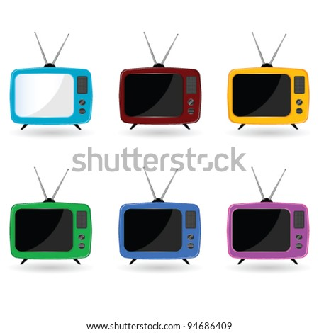 old television in six colors with antenna