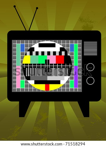 Old television with test screen on grunge background. Also available as jpeg.