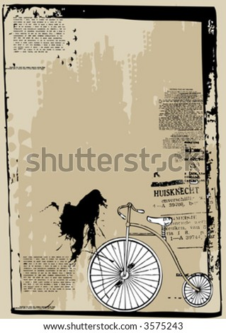 old textured grunge vector background with typographic elements and a bicycle