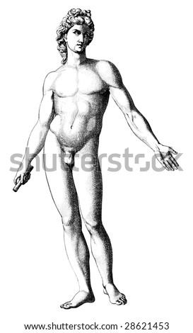 old time engraving of the david
