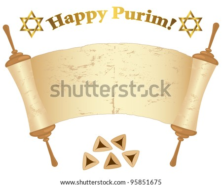 Old Torah scroll, David stars and Pies isolated on white. Vector illustration.