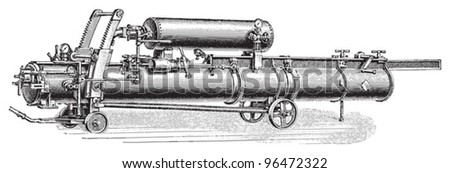 Old torpedo launcher / vintage illustration from Meyers Konversations-Lexikon 1897