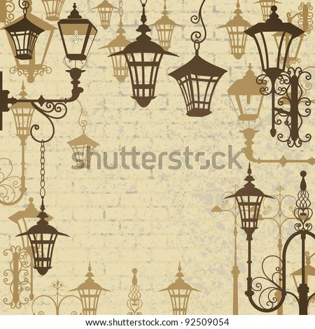 Old town background with wrought lanterns - stock vector