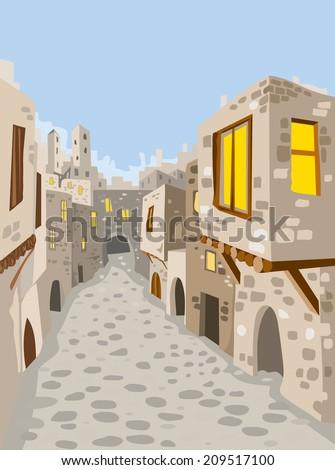 Old Town City, Middle East, Jerusalem (vector Art)