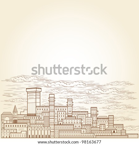 old town engraving background