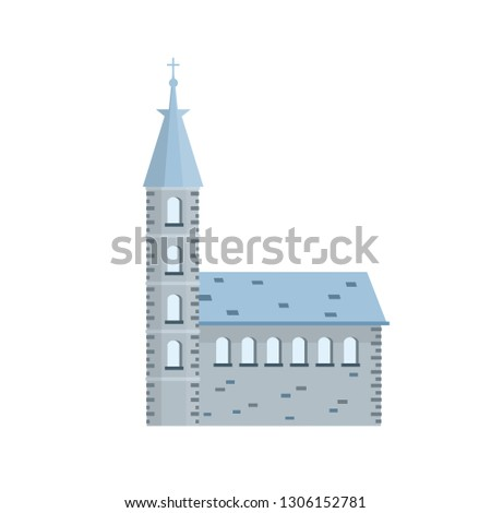 Old town hall building with blue roof, bell tower and spire. European urban architecture. The medieval Guildhall of the little town. Catholic Christian Church. Cartoon flat illustration