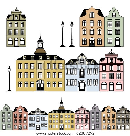 Old town houses. Vector illustration