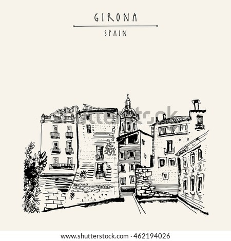 old town in girona  catalonia
