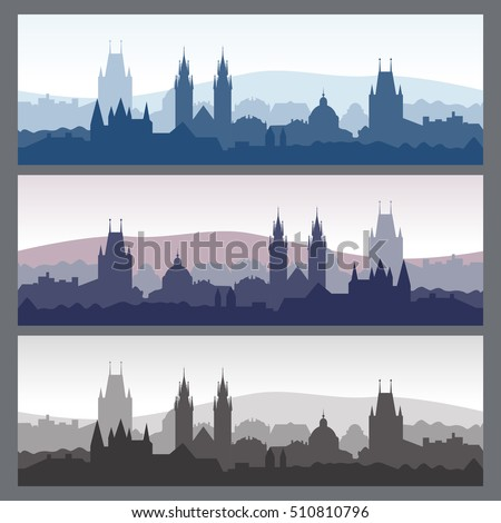 old town silhouettes set