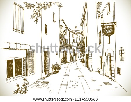 Old town street in hand drawn sketch style. Sepia vector illustration. Small European city. Urban landscape on vintage background