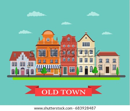 old town village main street. City landscape. Life style. Vector illustration in flat style