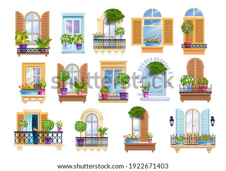 Old town window frame, vintage European balcony set with house plants, wooden shutters, rails, glass. City architecture exterior, facade front view collection. Street closed, opened windows, balconies