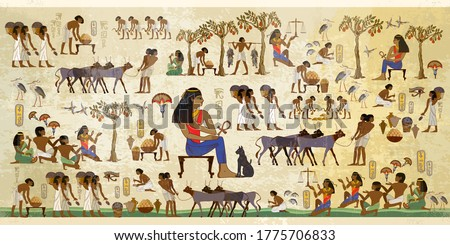 Old tradition, religion and culture. Hieroglyphic carvings on exterior walls of an old temple. Life of egyptians. History art. Ancient Egypt frescoes. Agriculture, fishery, farm Stock photo ©