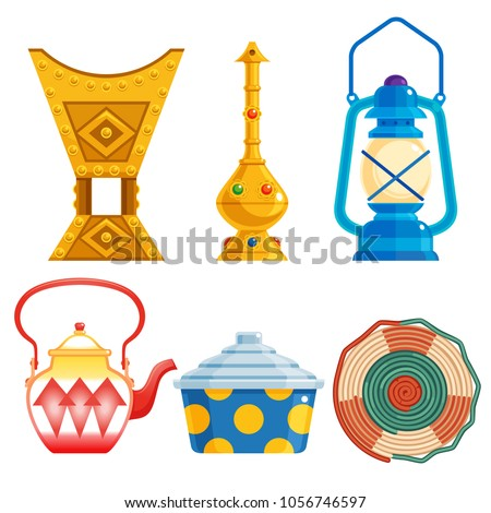 old traditional heritage icons in Arab gulf countries ( United Arab Emirates UAE  Saudi Arabia , Qatar  Bahrain , Kuwait  and Oman )  Ramadan kareem isolated vector illustration Stockfoto ©