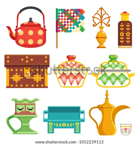 old traditional heritage icons in Arab gulf countries ( United Arab Emirates UAE  Saudi Arabia KSA , Qatar  Bahrain , Kuwait  and Oman )  Ramadan kareem isolated vector illustration Stockfoto ©