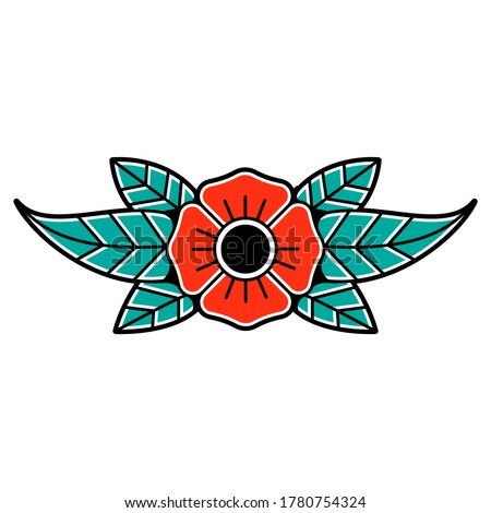 Old traditional school tattoo of flash art design. Isolated vector illustration with traditional tattoo flower element in vintage, retro style. Element for tattoo sketch or print.