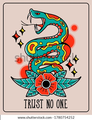 """Old traditional school tattoo of flash art design. Isolated vector illustration with wild and dangerous snake, cobra and phrase """"Trust no one"""". Element for tattoo sketch or print."""