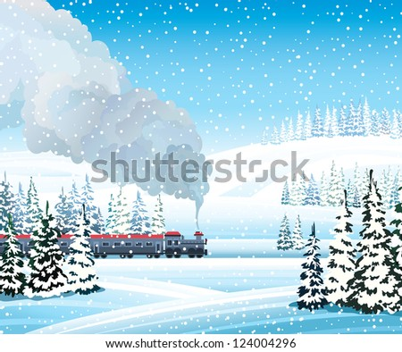 Old train with gray smoke and winter landscape with frozen forest on a blue sky background.