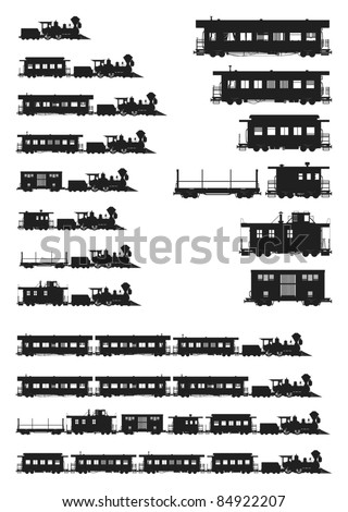 Old Trains, gray scale, vector