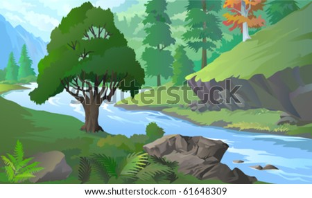 OLD TREE BY RIVERSIDE  AMIDST HILLS  AND ROCKS