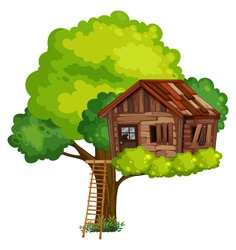 Old treehouse made of wood illustration