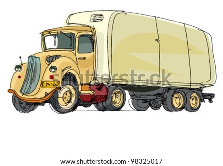 old truck - cartoon