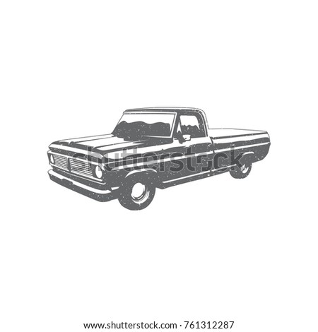 Old truck pickup scratchy textured vintage vector vechicle