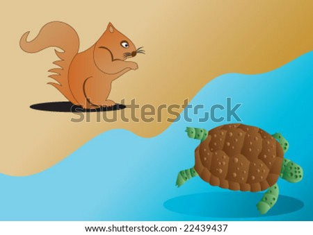 Old turtle in the sea and young squirrel on the beach
