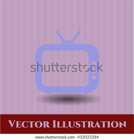 old tv television icon vector symbol flat eps jpg