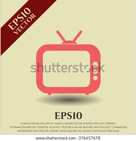 Old TV (Television) vector icon or symbol