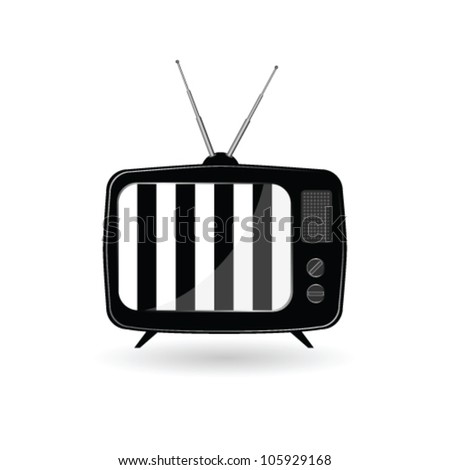 old tv with black and white line vector illustration