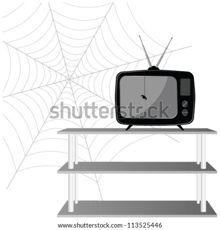 old tv with spider vector illustration on a white background