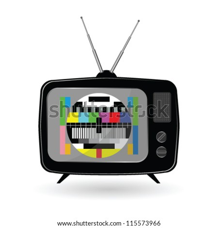 old tv with tv test vector  illustration