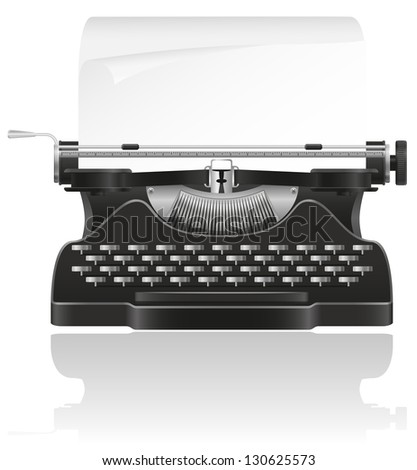 old typewriter vector illustration isolated on white background