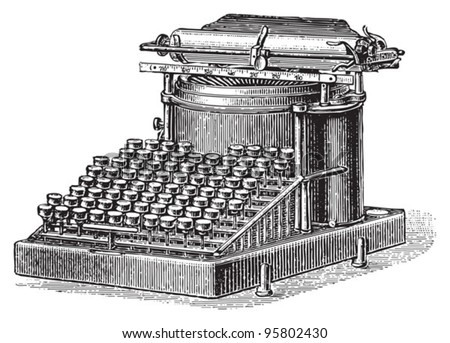 Old typewriter / vintage illustration from Meyers Konversations-Lexikon 1897 - stock vector