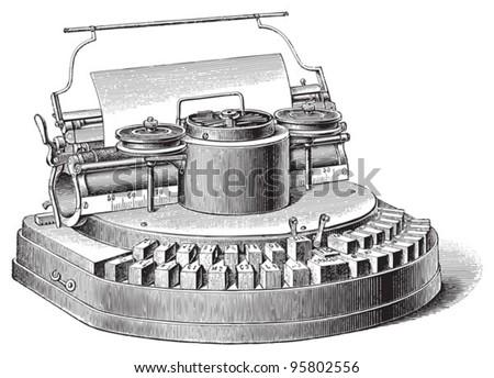 Old typewriter / vintage illustration from Meyers Konversations-Lexikon 1897