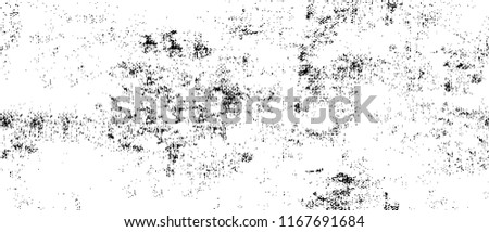 Old Ultrawide Grunge Seamless Black And White Texture. Dark Weathered Vector Overlay Pattern Sample. Widescreen Background