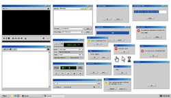 Old user interface. Retro browser windows and error message popup. Mockup of vintage media player, sound recorder and dialog box with system information. Pixelated computer mouse icons