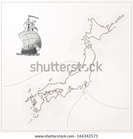 old vector japan map
