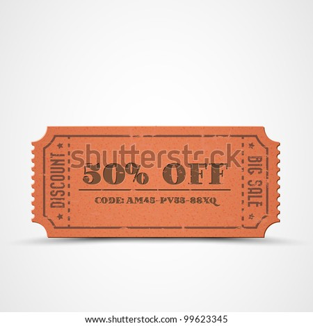 Old Vector orange vintage paper sale coupon with code