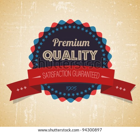 Old vector round retro vintage grunge label - premium quality