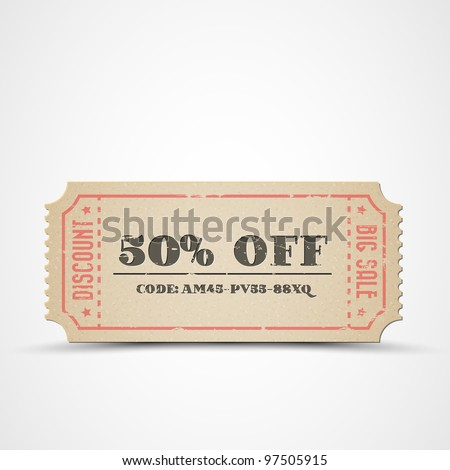 Old Vector vintage paper sale coupon with code - stock vector