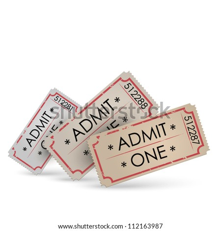 Old Vector vintage paper tickets - different colors