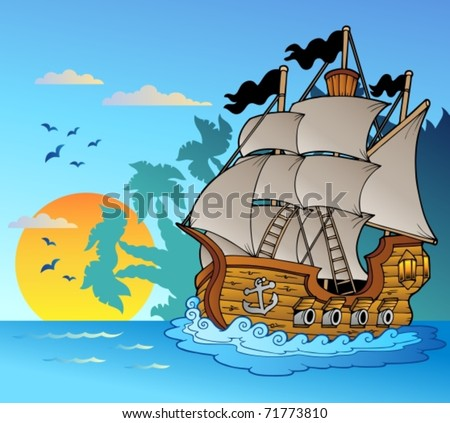 Old vessel with island silhouette - vector illustration.