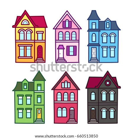 old victorian houses  vector