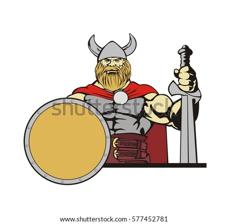 old viking in helm with sword