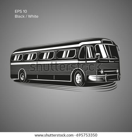 Old vintage american bus vector illustration. Retro passenger vehicle