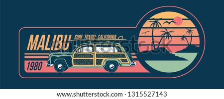 Old vintage car for summer surfing traveling and living on the paradise California beaches with sun sea surf. Camping truck print illustration design for clothes t shirt sticker patch poster banner.