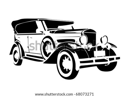 old vintage car illustration on isolated on white background