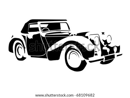 Old Vintage Car Isolated On White Background Stock Vector